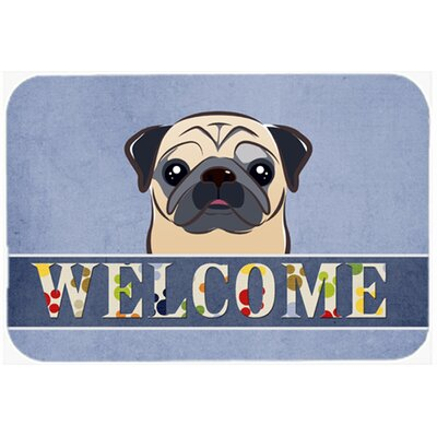 Pug Welcome Kitchen/Bath Mat Size: 20 W x 30 L, Color: Fawn