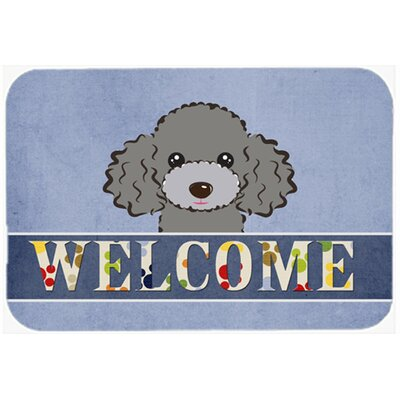 Poodle Welcome Kitchen/Bath Mat Size: 20 W x 30 L, Color: Silver/Gray