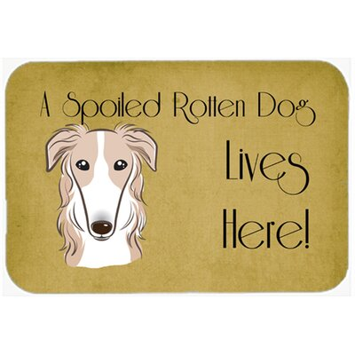 Borzoi Spoiled Dog Lives Here Kitchen/Bath Mat Size: 24 W x 36 L