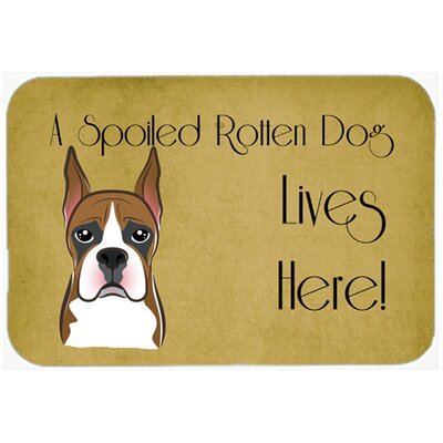 Boxer Spoiled Dog Lives Here Kitchen/Bath Mat Size: 20 W x 30 L