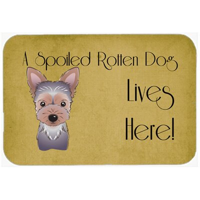 Yorkie Puppy Spoiled Dog Lives Here Kitchen/Bath Mat Size: 24 W x 36 L