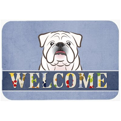 English Bulldog Welcome Kitchen/Bath Mat Size: 20 W x 30 L, Color: White