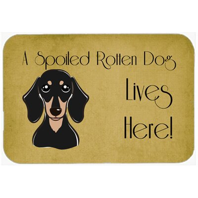 Smooth Dachshund Spoiled Dog Lives Here Kitchen/Bath Mat Size: 24 W x 36 L