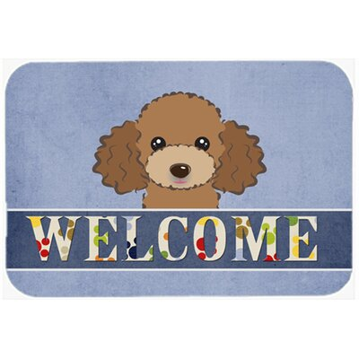 Poodle Welcome Kitchen/Bath Mat Size: 24 W x 36 L, Color: Chocolate/Brown