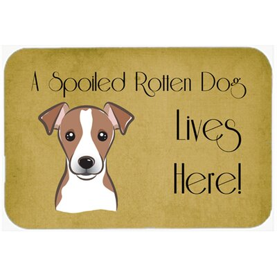 Jack Russell Terrier Spoiled Dog Lives Here Kitchen/Bath Mat Size: 20 W x 30 L, Color: Brown