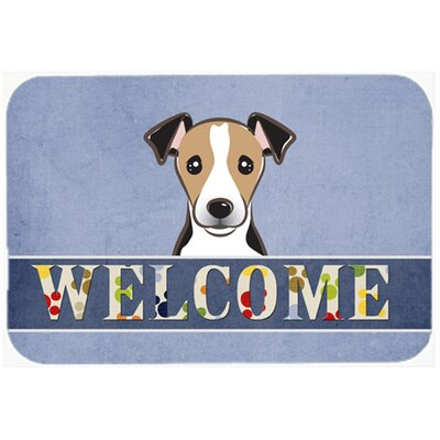 Jack Russell Terrier Welcome Kitchen/Bath Mat Size: 20 W x 30 L, Color: Black/Beige