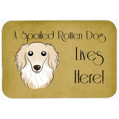 Longhair Dachshund Spoiled Dog Lives Here Kitchen/Bath Mat Size: 20 W x 30 L, Color: Cream
