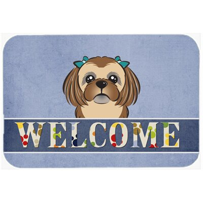 Shih Tzu Welcome Kitchen/Bath Mat Size: 20 W x 30 L, Color: Chocolate/Brown