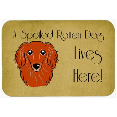 Longhair Dachshund Spoiled Dog Lives Here Kitchen/Bath Mat Size: 24 W x 36 L, Color: Red