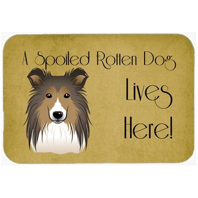 Sheltie Spoiled Dog Lives Here Kitchen/Bath Mat Size: 24 W x 36 L