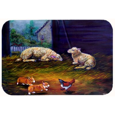 Corgi Chaos in the Barn with Sheep Kitchen/Bath Mat Size: 24 W x 36 L