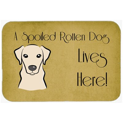 Labrador Spoiled Dog Lives Here Kitchen/Bath Mat Color: Cream, Size: 24 W x 36 L