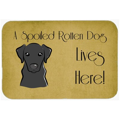 Labrador Spoiled Dog Lives Here Kitchen/Bath Mat Size: 24 W x 36 L, Color: Black