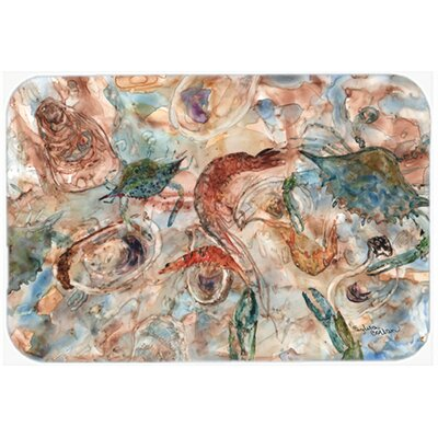 Crabs, Shrimp and Oysters on the Loose Kitchen/Bath Mat Size: 24 W x 36 L