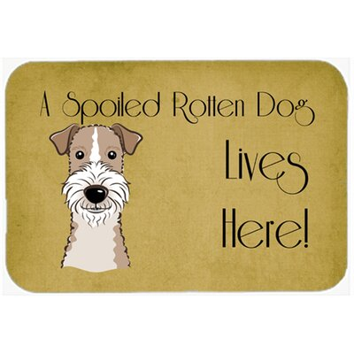 Wire Haired Fox Terrier Spoiled Dog Lives Here Kitchen/Bath Mat Size: 24