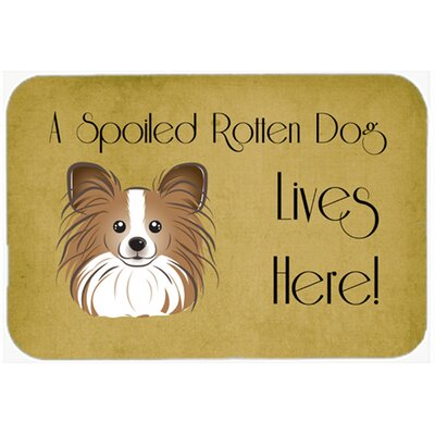 Papillon Spoiled Dog Lives Here Kitchen/Bath Mat Size: 24 W x 36 L