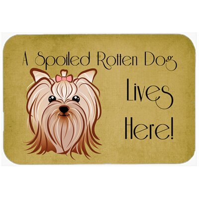 Yorkie Yorkshire Terrier Spoiled Dog Lives Here Kitchen/Bath Mat Size: 24 W x 36 L