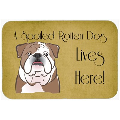 English Bulldog Spoiled Dog Lives Here Kitchen/Bath Mat Size: 24 W x 36 L, Color: Brown