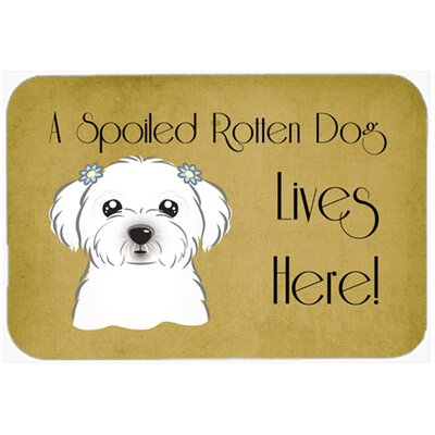 Maltese Spoiled Dog Lives Here Kitchen/Bath Mat Size: 20 W x 30 L