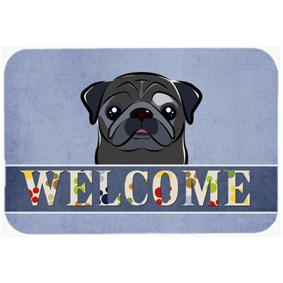Pug Welcome Kitchen/Bath Mat Size: 20 W x 30 L, Color: Black