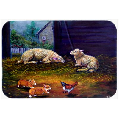 Corgi Chaos in the Barn with Sheep Kitchen/Bath Mat Size: 20 W x 30 L