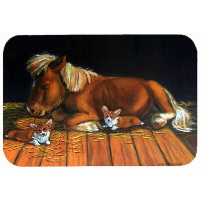 Corgi Snuggles the Pony Kitchen/Bath Mat Size: 24 W x 36 L