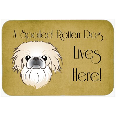 Pekingese Spoiled Dog Lives Here Kitchen/Bath Mat Size: 24 W x 36 L