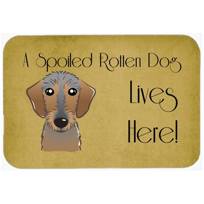 Wirehaired Dachshund Spoiled Dog Lives Here Kitchen/Bath Mat Size: 24 W x 36 L