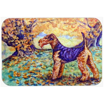 Autumn Airedale Terrier Kitchen/Bath Mat Size: 24 W x 36 L