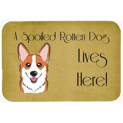 Corgi Spoiled Dog Lives Here Kitchen/Bath Mat Size: 20 W x 30 L, Color: Tan