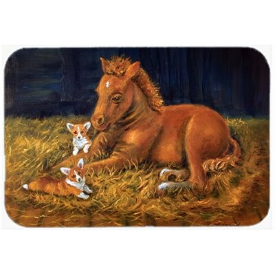Corgi Sunrise with Colt Kitchen/Bath Mat Size: 20