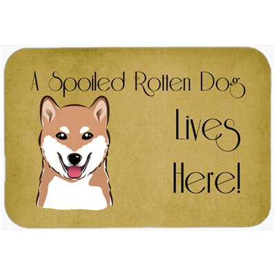 Shiba Inu Spoiled Dog Lives Here Kitchen/Bath Mat Size: 20 W x 30 L