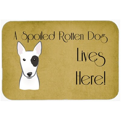 Bull Terrier Spoiled Dog Lives Here Kitchen/Bath Mat Size: 20 W x 30 L