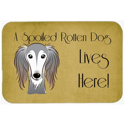 Saluki Spoiled Dog Lives Here Kitchen/Bath Mat Size: 24 W x 36 L