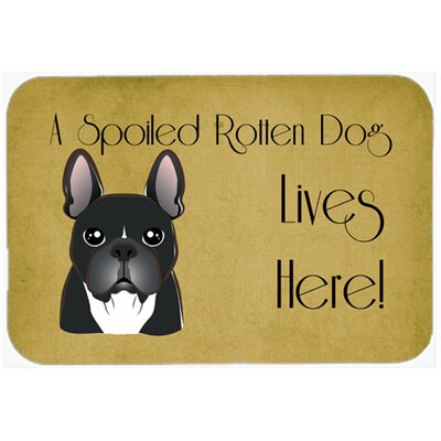 French Bulldog Spoiled Dog Lives Here Kitchen/Bath Mat Size: 24 W x 36 L
