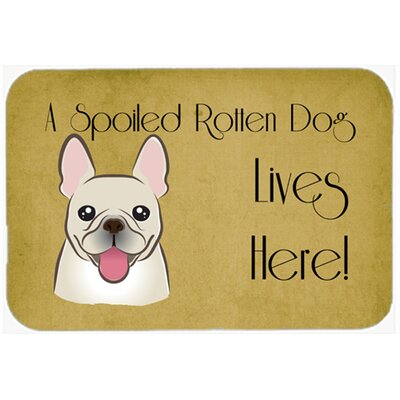 French Bulldog Spoiled Dog Lives Here Kitchen/Bath Mat Size: 24 W x 36 L