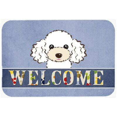 Poodle Welcome Kitchen/Bath Mat Size: 24 W x 36 L, Color: White