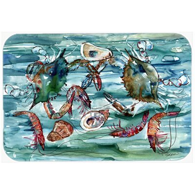 Crabs, Shrimp and Oysters in Water Kitchen/Bath Mat Size: 24 W x 36 L