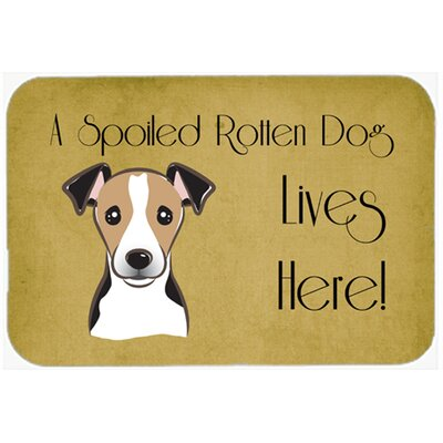 Jack Russell Terrier Spoiled Dog Lives Here Kitchen/Bath Mat Size: 20 W x 30 L, Color: Black/Beige