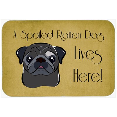 Pug Spoiled Dog Lives Here Kitchen/Bath Mat Size: 24 W x 36 L, Color: Black