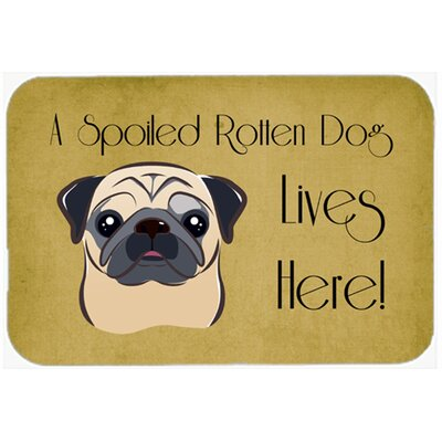 Pug Spoiled Dog Lives Here Kitchen/Bath Mat Size: 24 W x 36 L, Color: Fawn