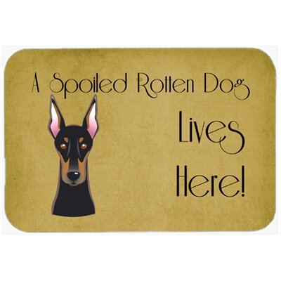 Doberman Spoiled Dog Lives Here Kitchen/Bath Mat Size: 20 W x 30 L