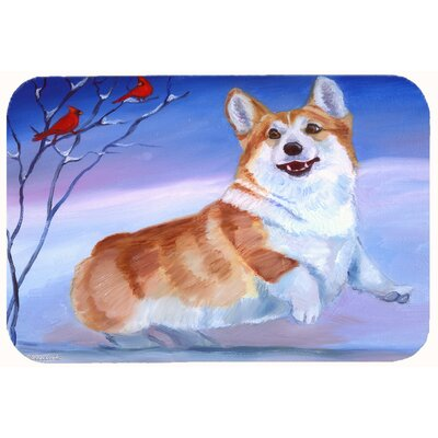 Corgi Snow Cardinal Kitchen/Bath Mat Size: 24 W x 36 L
