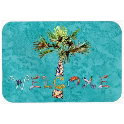 Welcome Palm Tree Kitchen/Bath Mat Size: 24 W x 36 L, Color: Teal