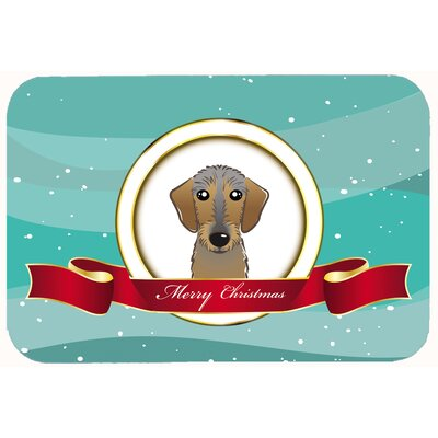 Wirehaired Dachshund Merry Christmas Kitchen/Bath Mat Size: 24 W x 36 L
