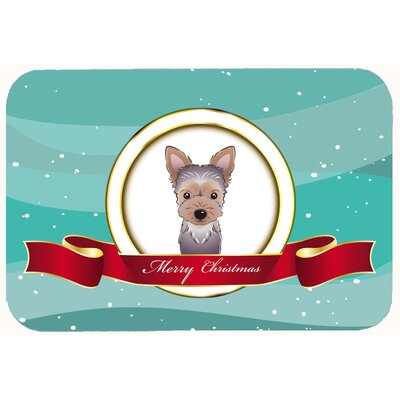 Yorkie Puppy Merry Christmas Kitchen/Bath Mat Size: 24