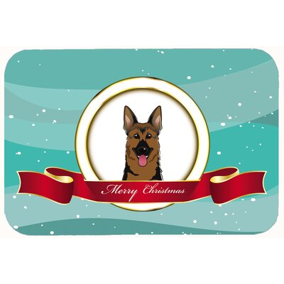 German Shepherd Merry Christmas Kitchen/Bath Mat Size: 20