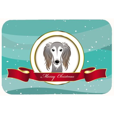 Saluki Merry Christmas Kitchen/Bath Mat Size: 24 W x 36 L