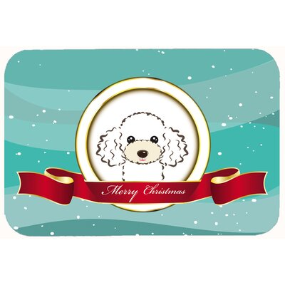 Poodle Merry Christmas Kitchen/Bath Mat Size: 24 W x 36 L, Color: White
