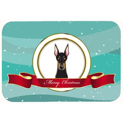 Doberman Merry Christmas Kitchen/Bath Mat Size: 24 W x 36 L